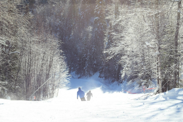 Cruising down another serene piste at Le Massif - Day 4