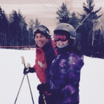 Trip Leaders, Lorri and Aubre, on the slopes at Le Massif - Day 4