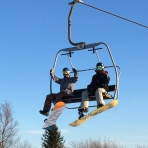 On the chair lift at Stoneham - Day 3