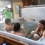 Warming Up in the Hot Tub Following Swim Suit Run - Day 3