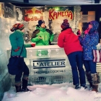 Holding court at an outdoor ice bar - Day 5